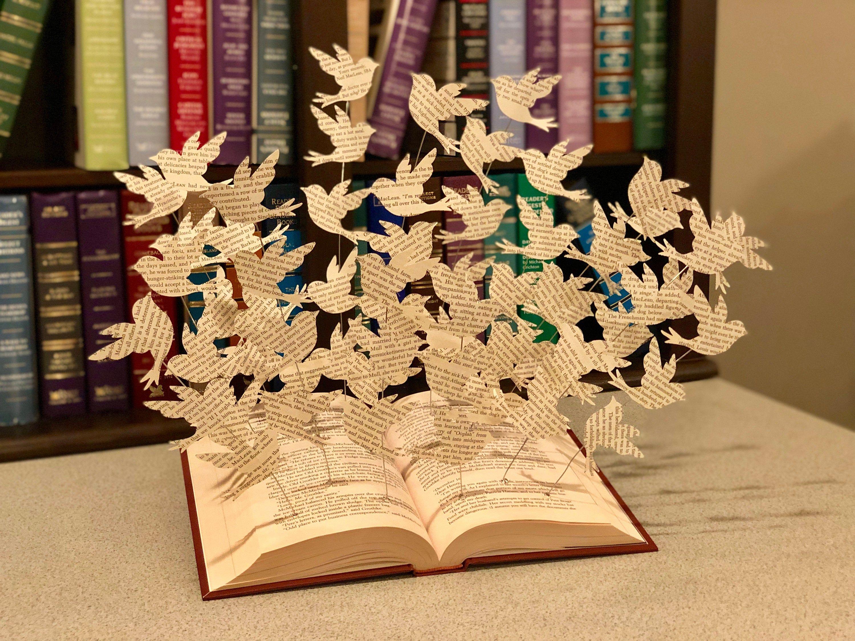 Book Art Paper Birds Book Art Sculpture Book Decorations Etsy Book Art Sculptures Book Art Paper Birds