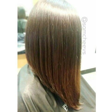 Long Bob Hair Cut Subtle Ombre On Dark Hair Styles Straight With