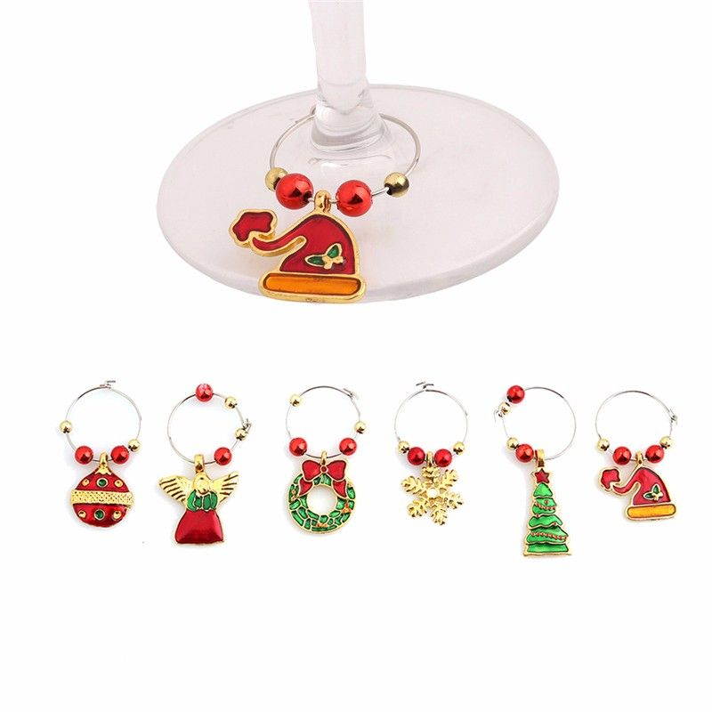 1Set Christmas Wine Glass Decoration Charms Party New Year Cup - küche dekoration shop