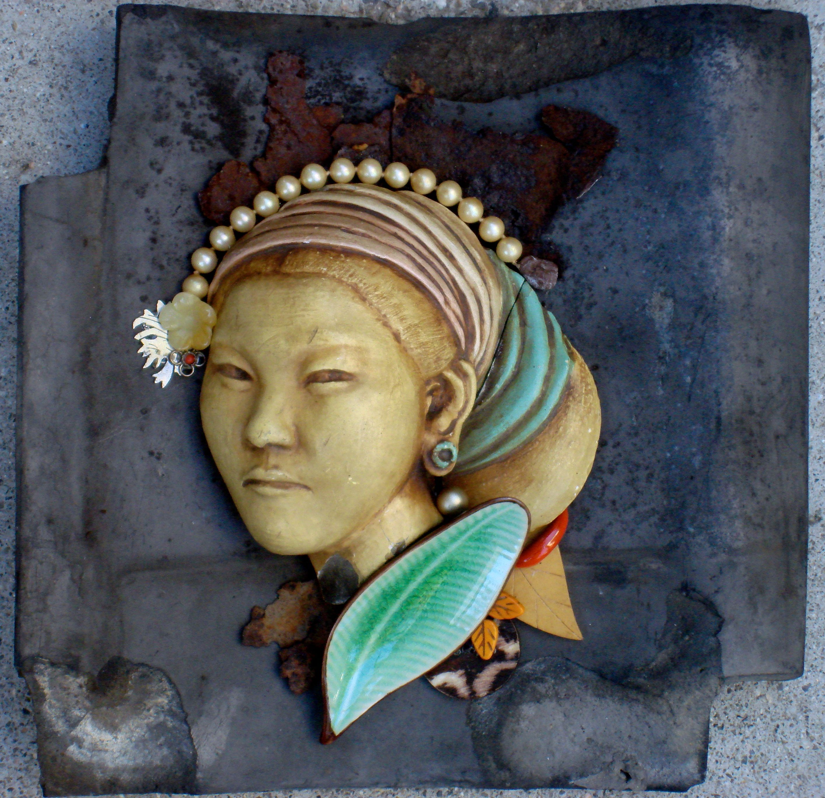 Best Mixed Media Assemblage On Old Japanese Roof Tile By Carolyn Machado Machadoart Net With Images 400 x 300