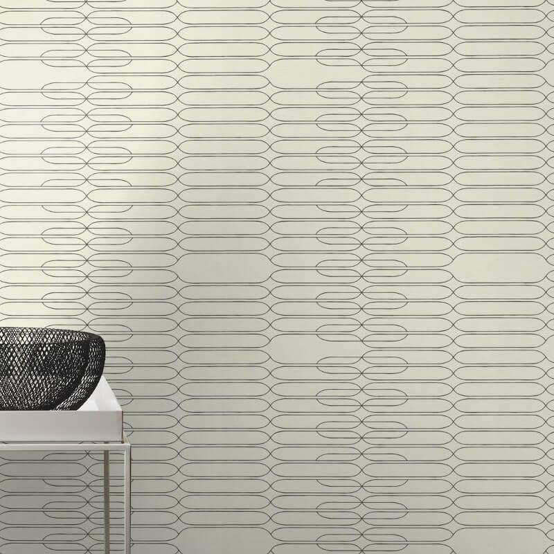 Studio Onszelf Linear Geometric Black/White Wallpaper