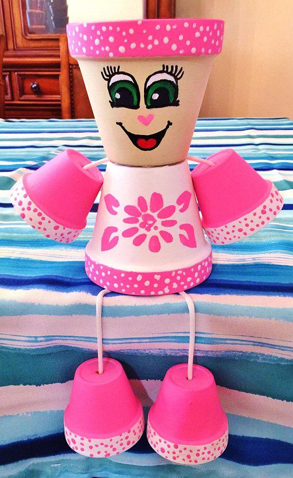 Pink Flower Dots Clay Pot Head People Terra Cotta #flowerpot