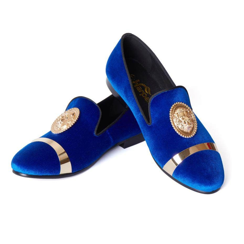 cf48dd810b8f3 Harpelunde Men Wedding Dress Shoes Slip On Blue Velvet Loafer Slippers With  Gold Plate Size 6-14