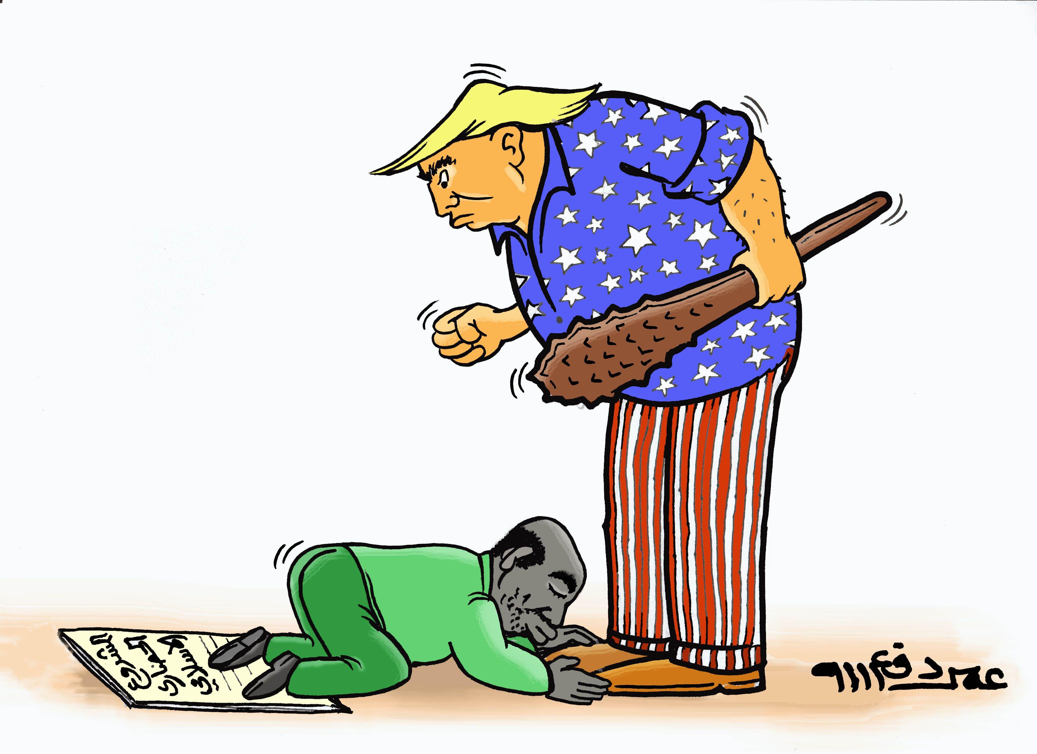 كاركاتير اليوم الموافق 06 فبراير 2017 للفنان عمر دفع الله عن ترمب و السودان