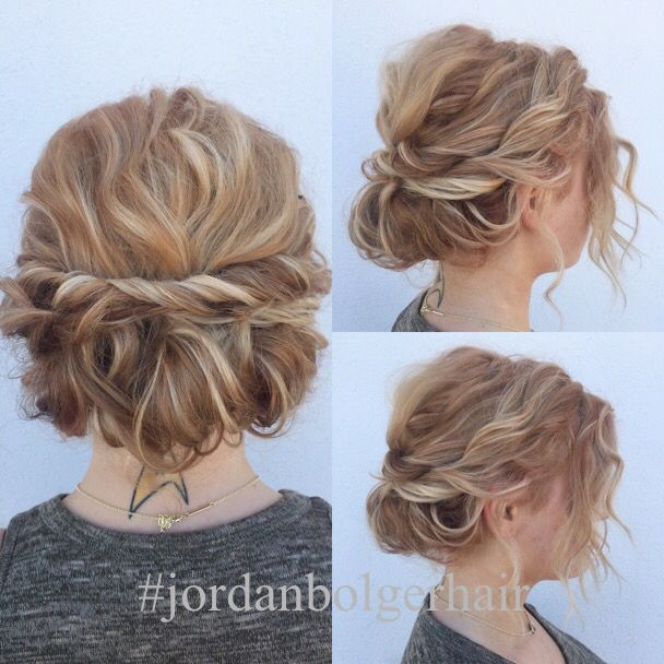 Quick And Cute Updo For Short Hair Lots Of Texture And So Easy To Achieve Short Hair Updo Curly Hair Styles Naturally Hairdos For Short Hair