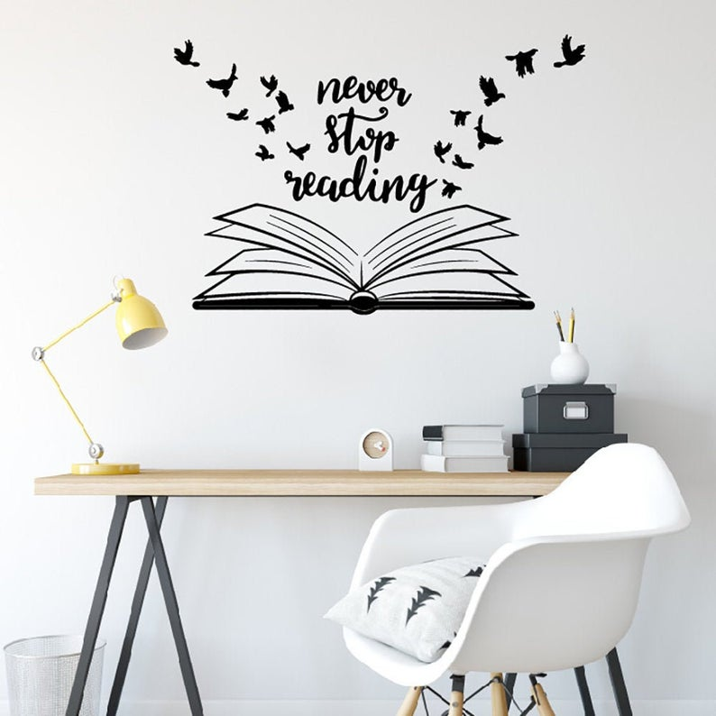 Never Stop Reading Wall Decal Library School Classroom Etsy In 2020 Room Wall Painting School Wall Art Wall Stickers Bedroom