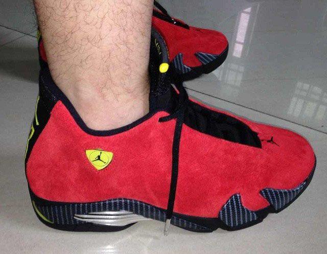 Nike-air-jordan-xiv-14-ferrari-red-suede-on feet  c4ca2cfc8