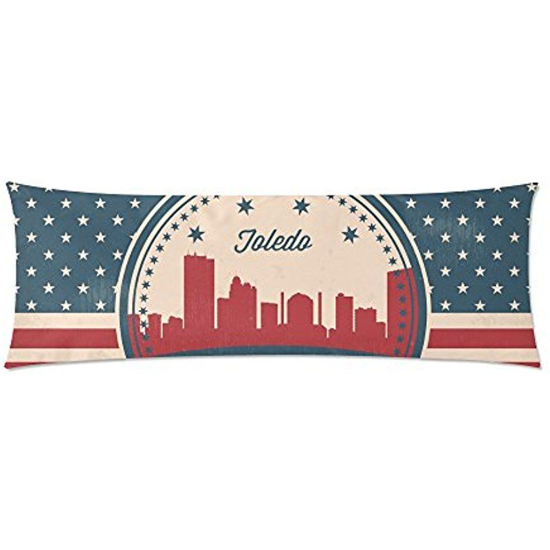 Vintage American Flag Ohio State Toledo Skyline Body Pillow