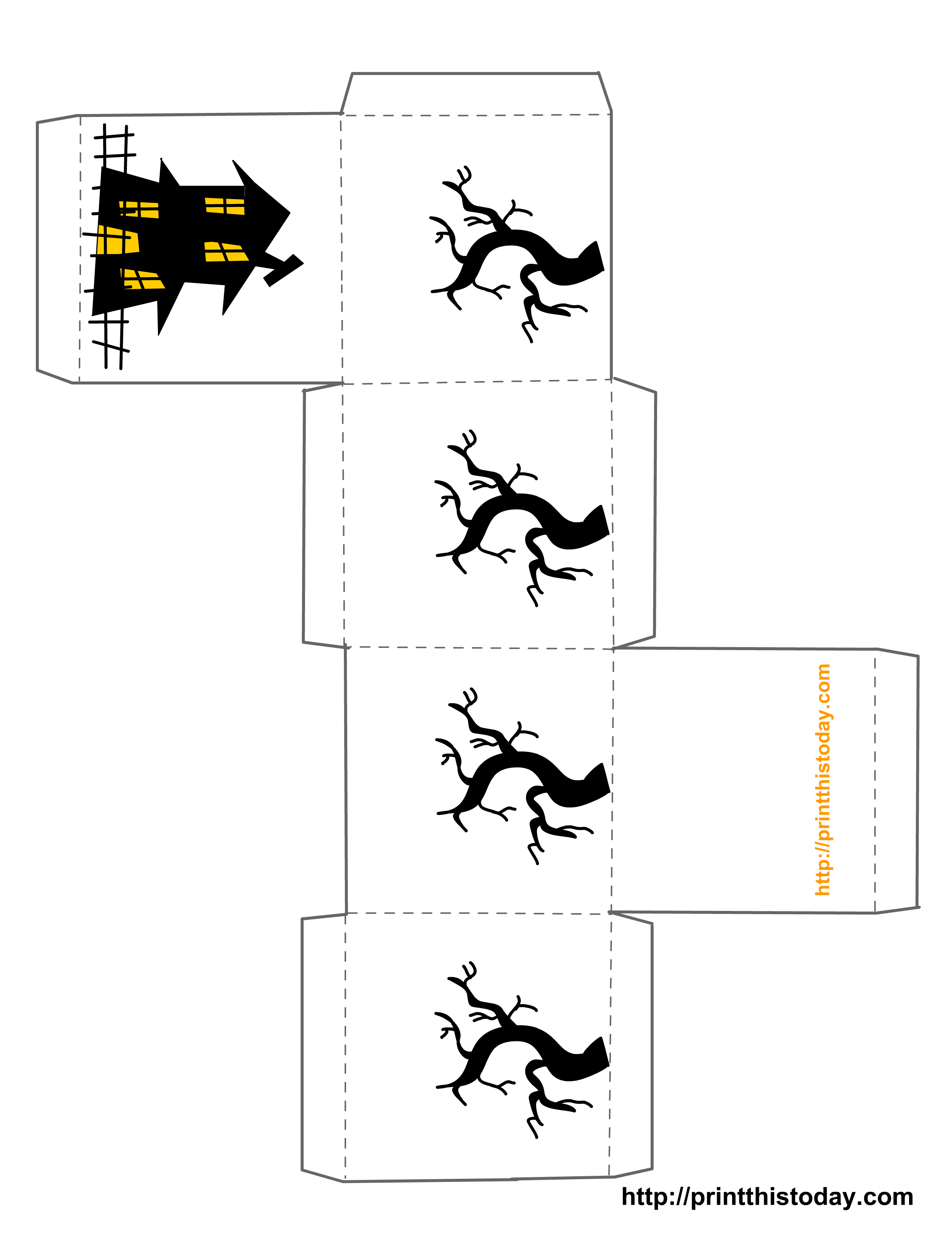 Free Printable Halloween Haunted House And Spooky Tree