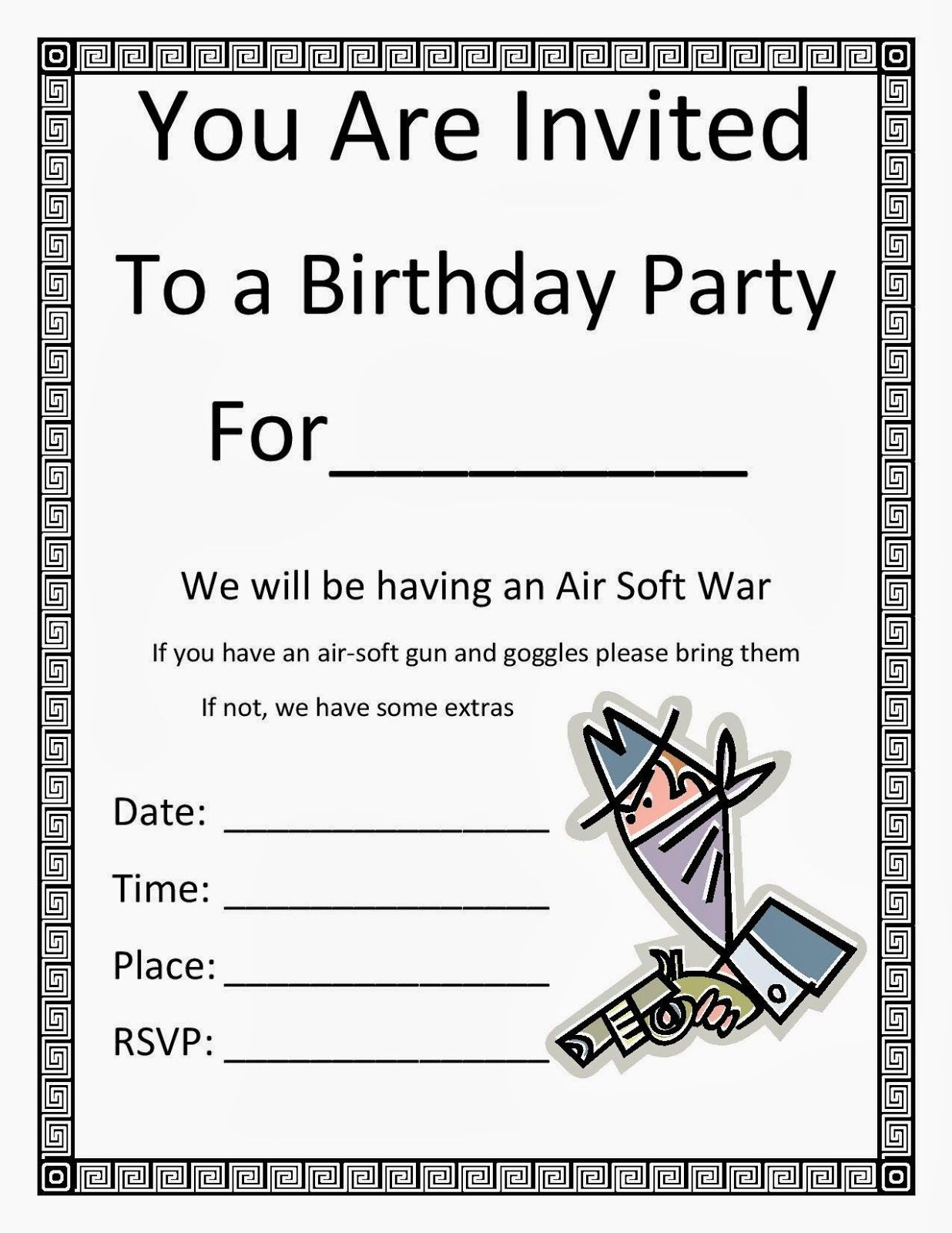 Free birthday party invitation template along with all the