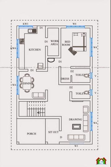 Kerala Homedesign 1 2bhk House Plan 20x40 House Plans Indian House Plans