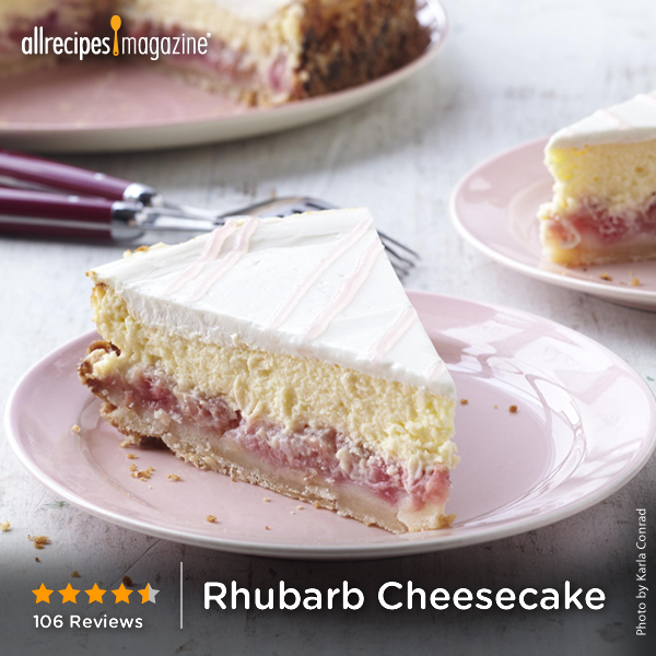 """Rhubarb Cheesecake, as seen in Allrecipes magazine   """"What a great change from everyday cheesecake. The rhubarb gave this cake a great, unique, tangy flavor. The crust was wonderfully different, like shortbread. I'll definitely make this again."""" —CANADA_COOKIN"""
