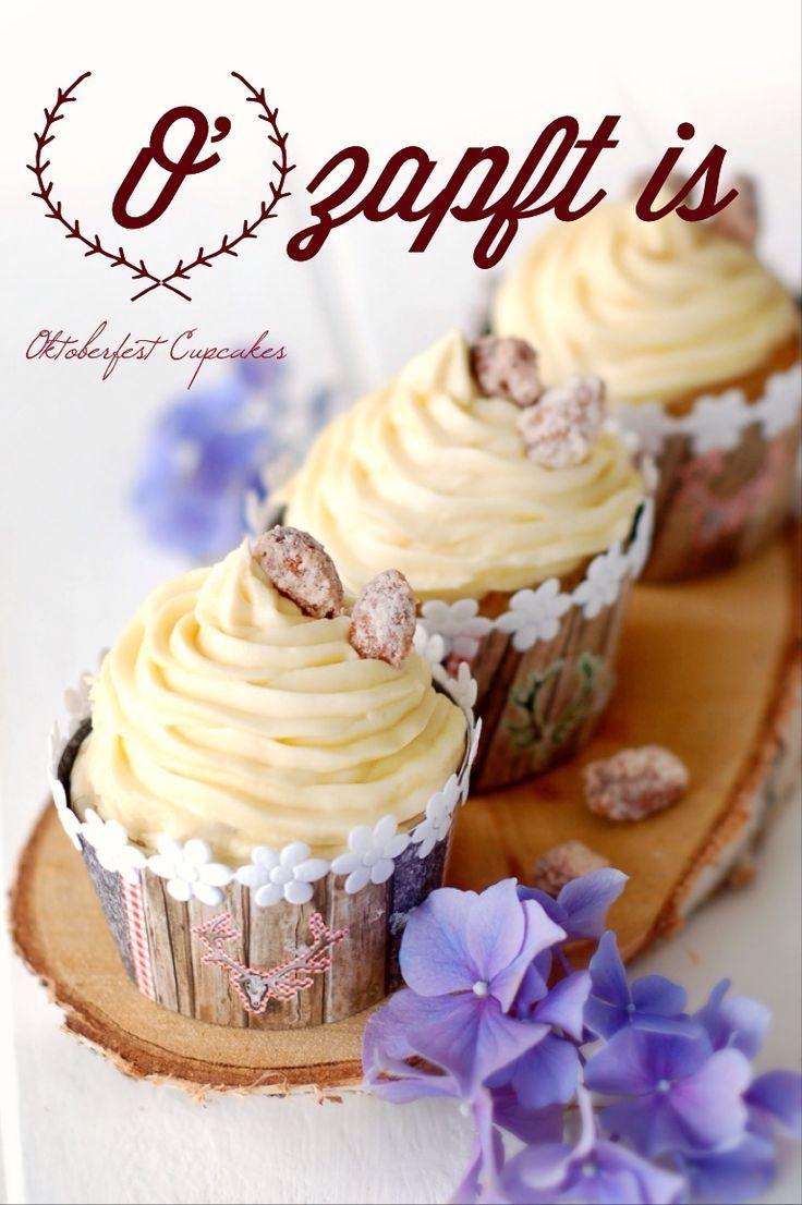 Gebrannte Mandeln Cupcakes zum Oktoberfest (Pink Sugar) #octoberfestfood