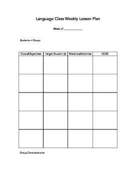 Here Is A Simple Lesson Plan Template For Language Classes In
