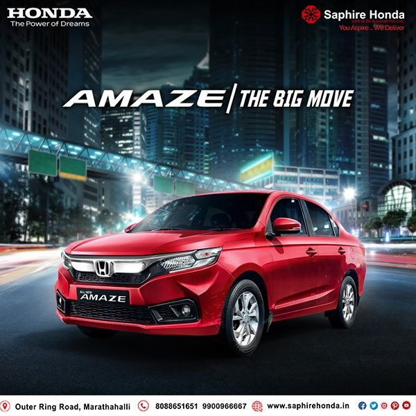Experience the 'Big' with Honda Amaze. It comes with i-VTEC Petrol Engine & CVT. To know more follow us on Facebook. Visit: www.saphirehonda.in or Call: 8088651651 #HondaOffer #HondaCars #Bangalore #testdrive #HondaAmaze