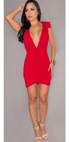 Red Deep Plunging V Neck Cap Short Sleeve Open Back Body Con Mini Dress