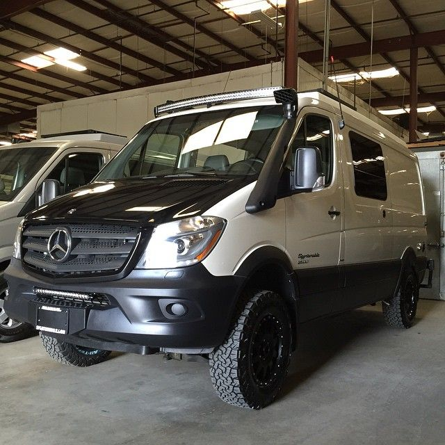 Van Life 4x4 Sprinter Looking Tough With LED Light Bars And New Hood Wrap Mercedesbenz