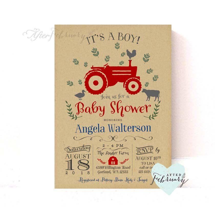 Tractor Baby Shower Invitation Kraft Background Boy Baby Shower ...