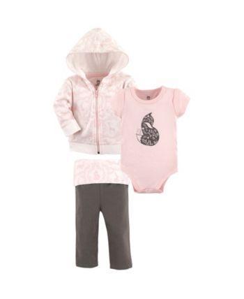 dccf0933e8de04 Yoga Sprout Hoodie, Bodysuits and Pants, 3-Piece Set, 0-24 Months - Pink  18-24M
