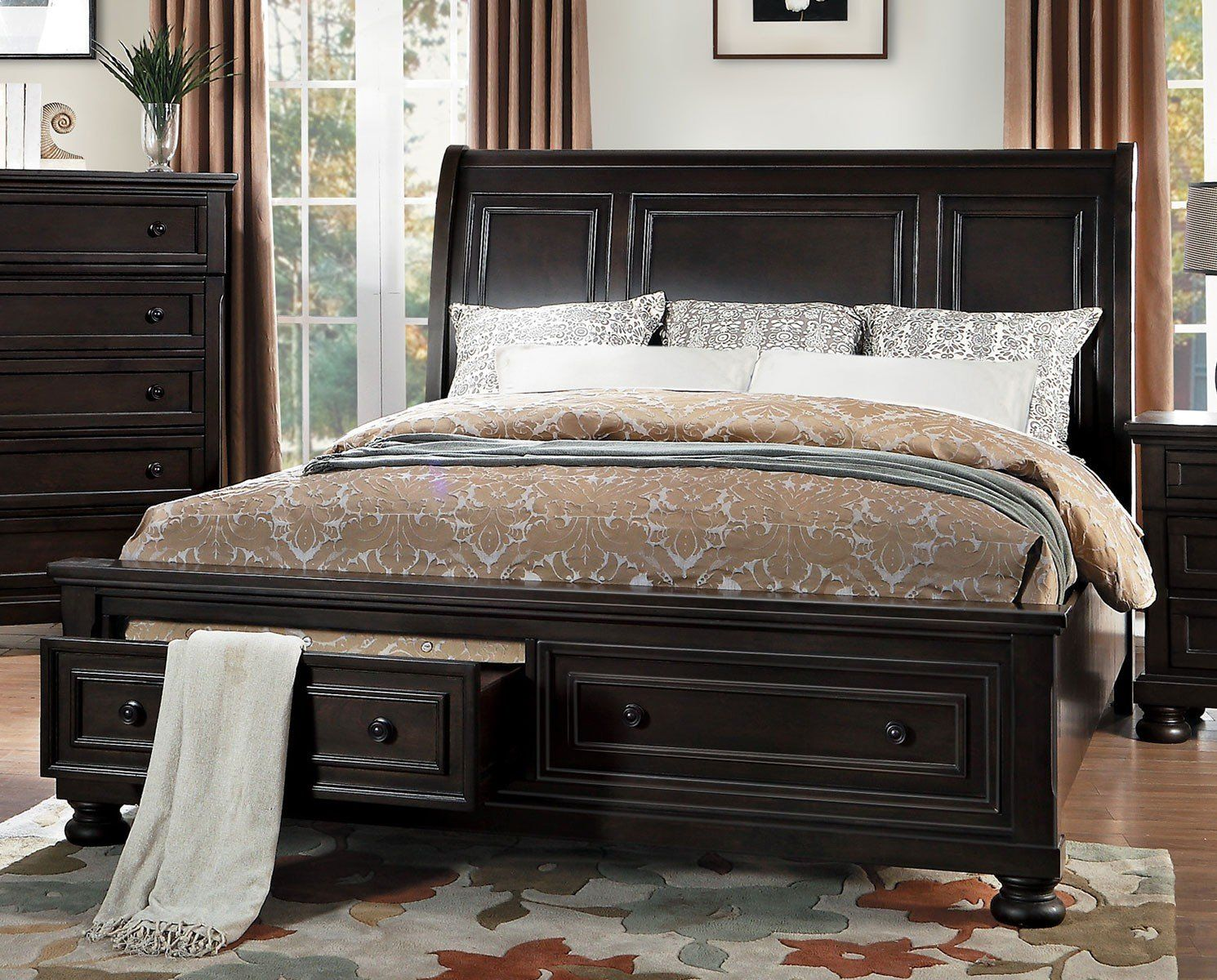 Begonia 1718gy 1 country casual gray storage queen sleigh platform bed