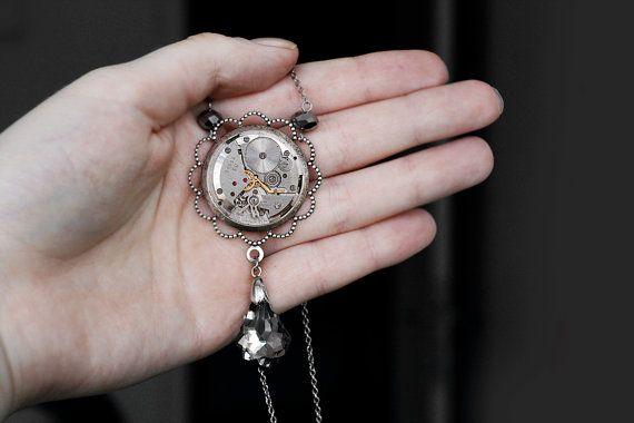 Big Steampunk victorian pendant necklace nickel by DevilsJewel, $46.00