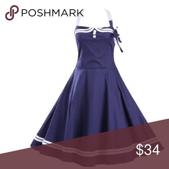 "✨☀️ COMING SOON ☀️✨ Beautiful sailor style retro swing dress. Bust = 38 Waist = 32"". 🍒 Dresses Midi"
