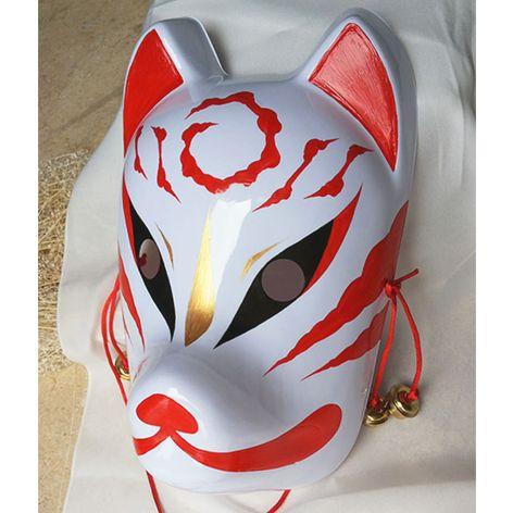 Komendo Full Face White Paint Japan Fox Mask Kitsune Party Cosplay Japan F//S