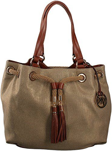 14898a0035c64d Women's Shoulder Bags - Michael Kors Marina Large Gathered Tote Grab Bag in Gold  Canvas *** More info could be found at the image url.