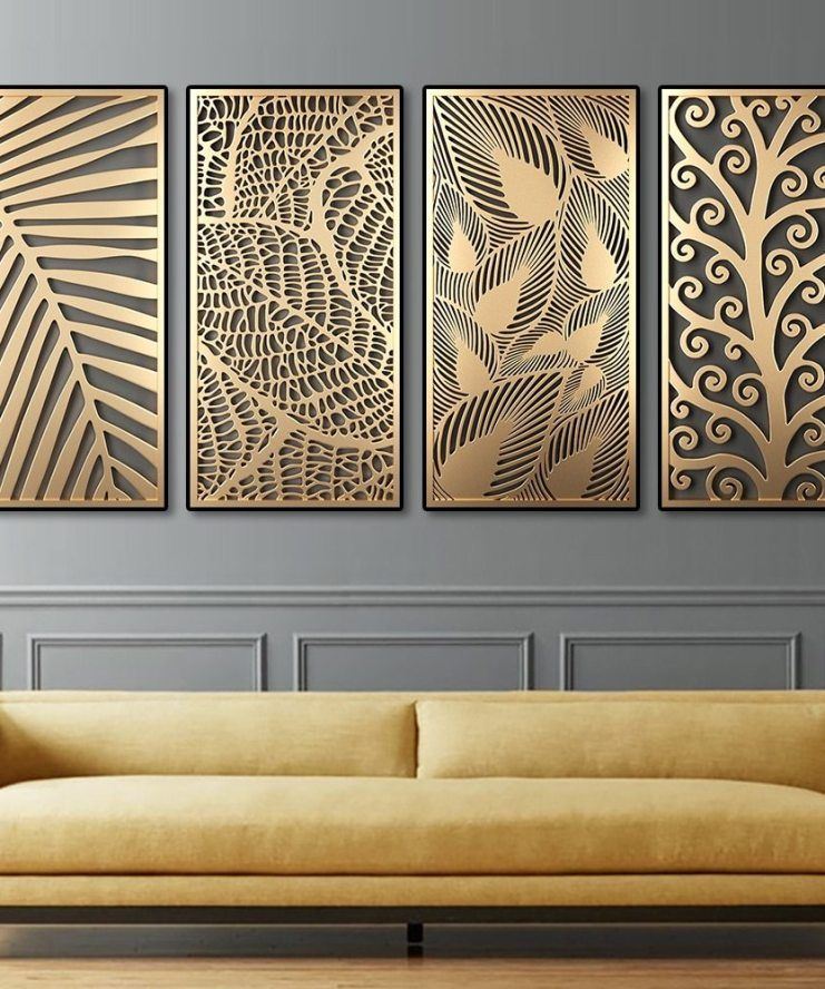 Abstract Golden Plant Leaves Canvas Painting Fashion Wall Art Posters And Prints Modern Living Room Aisle Decoration Home Decor Wall Art Living Room Modern Wall Art Metal Wall Art