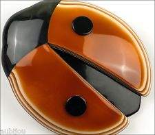 LEA STEIN FIGURAL CARAMEL MILK CHOCOLATE LADY BUG INSECT BROOCH PIN FRENCH RESIN
