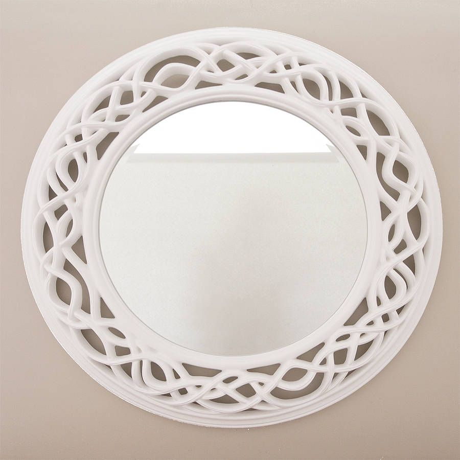 Cream twisted round mirror round mirrors rounding and for Fancy white mirror