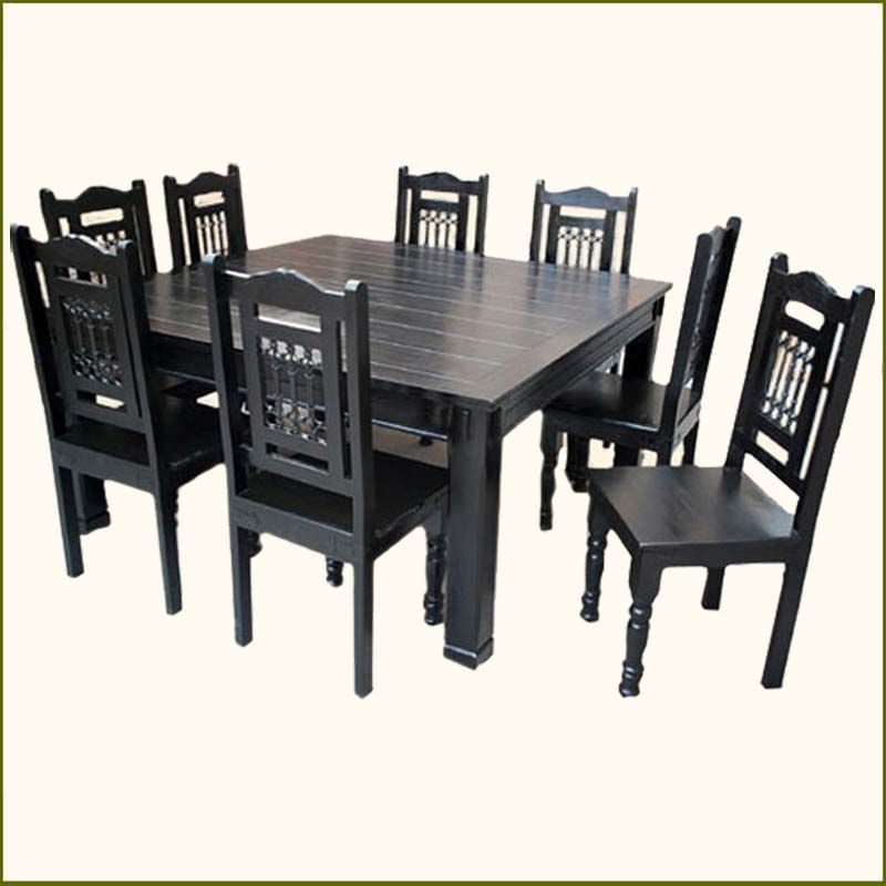 Solid Wood Transitional Style 9 Pc Black Dining Room Table Chair Set Square Dining Tables Square Dining Table Set Square Dining Room Table