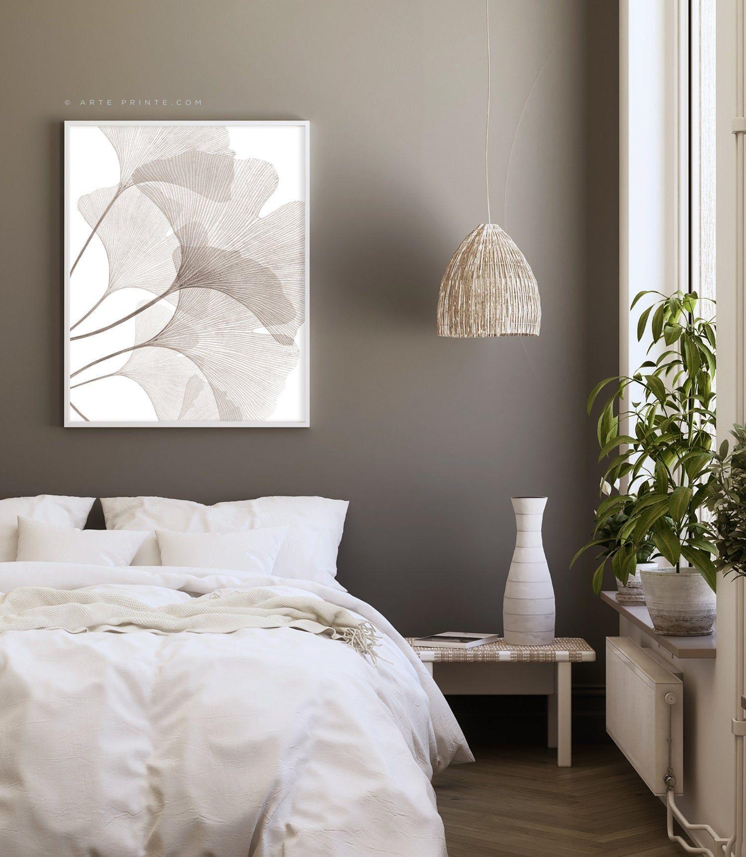 Ginkgo Leaf Print Brown Taupe Wall Art Modern Botanical Print Transparent Ginko Leaves Printable Poster Bedroom Wall Decor Digital Download In 2020 Brown Bedroom Walls Taupe Walls Wall Decor Bedroom