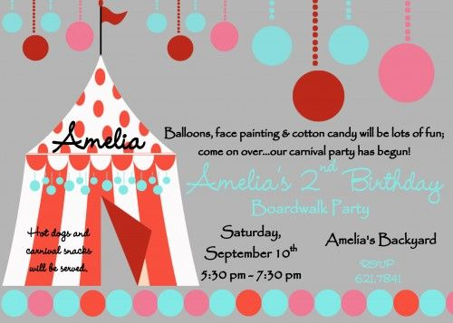Feminine Carnival Tent Birthday Party Invitation  d7600e9e7d