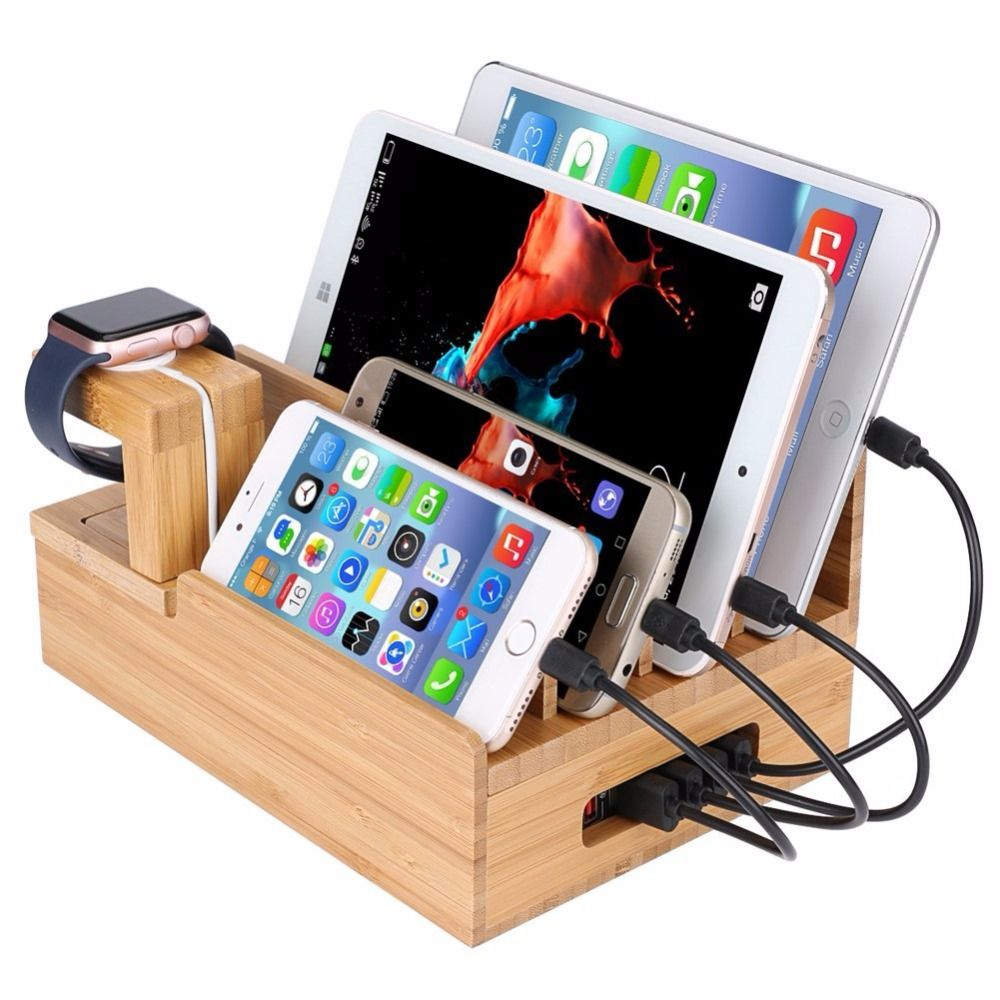 Multi Device Charging Station Dock Organizer Multiple Finishes Available For Laptops Tablets And Phone Charging Station Charging Station Apple Watch Ipad