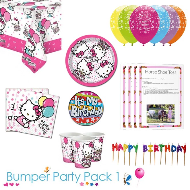 Hello Kitty Party Tableware Bumper Pack 1 With A Free It S My Birthday Badge And Downloadable Part Childrens Party Supplies Hello Kitty Party Childrens Party