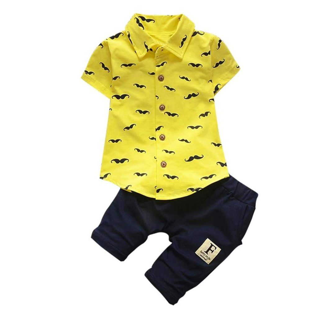 2cd426030 Kehen Toddler Baby Boys 2pcs Summer Outfit Candy Color Beard Print T-Shirt  Tops Shorts Clothes Set