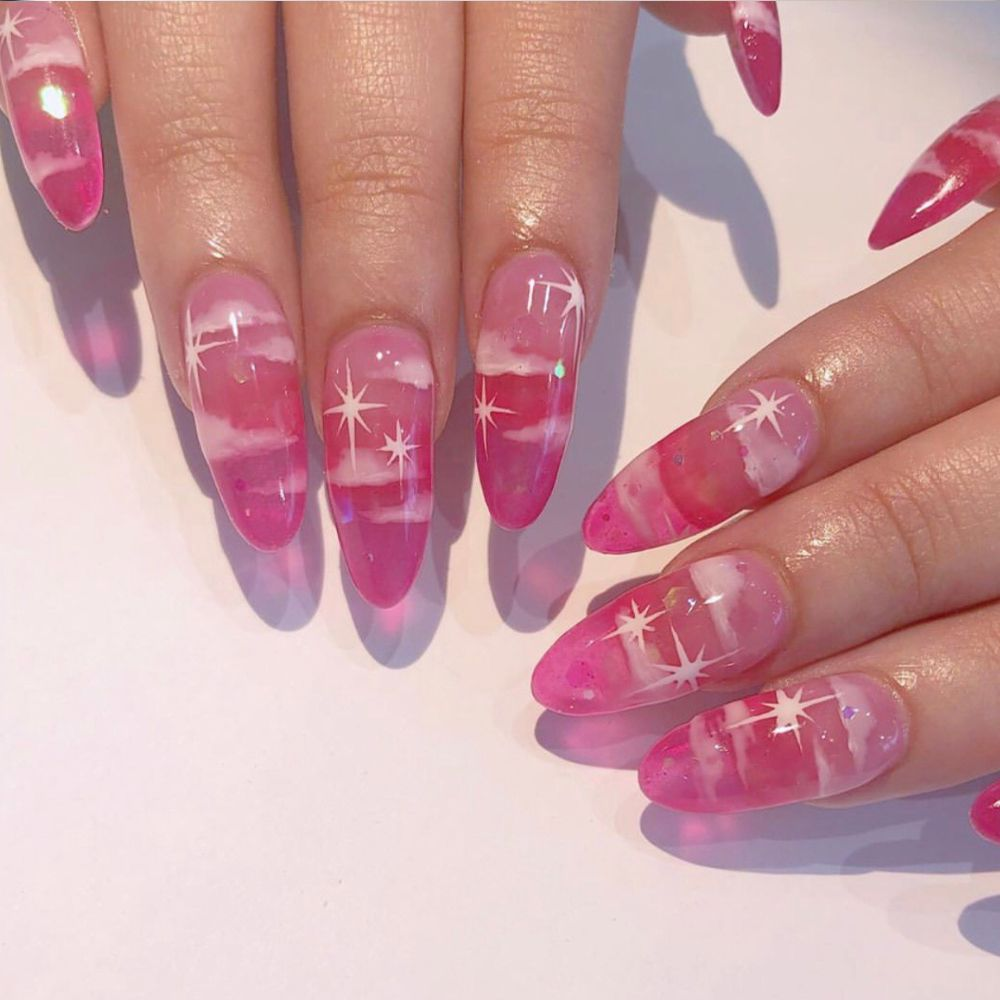 Pink Hand Painted Blue Sky And White Cloud Patch Nail Pretty Acrylic Nails Pink Nails Jelly Nails