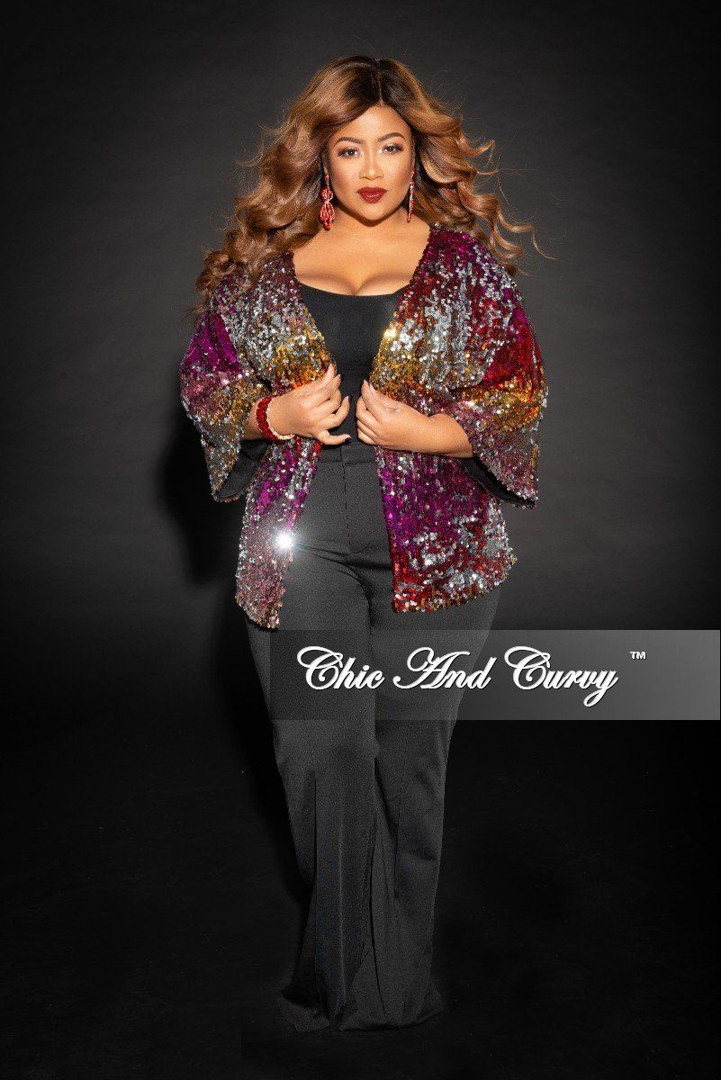 1f4acb627cb32 Plus Size Sequin Cardigan in Multi Color (Seasonal) – Chic And Curvy ...
