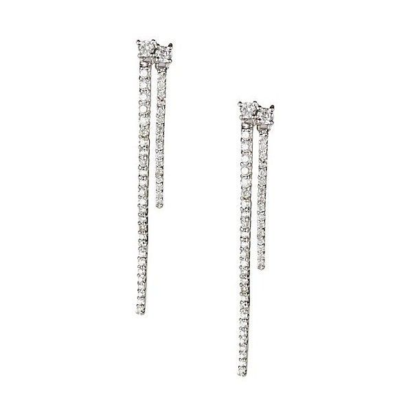 Vanhi 18K White Gold White Diamond Double Spike Earrings - 1.20 ctw ($1,350) ❤ liked on Polyvore featuring jewelry, earrings, white, 18 karat gold earrings, 18 karat gold jewelry, post drop earrings, white gold drop earrings and white diamond earrings