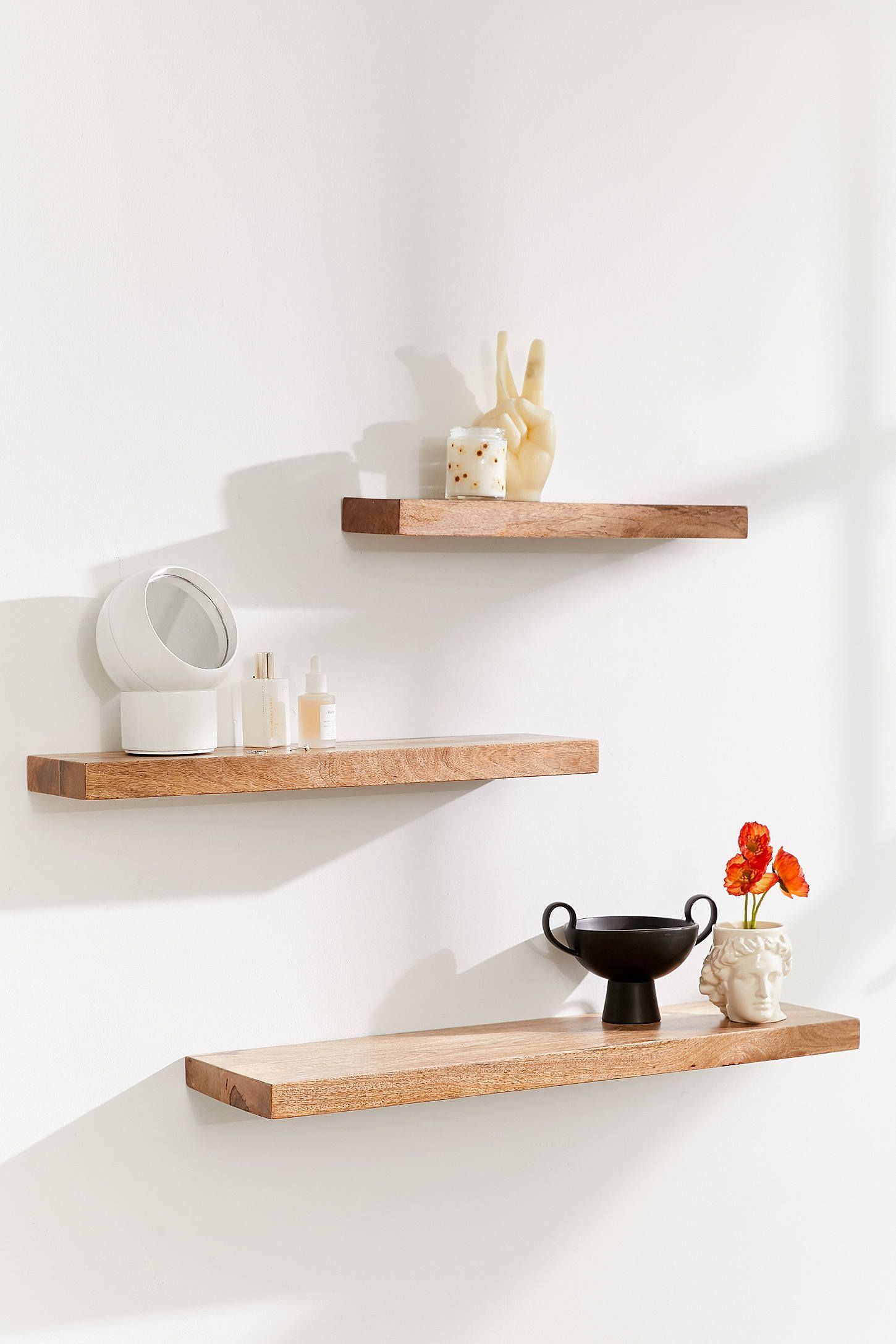 Simple Floating Wood Shelf  Urban Outfitters  Wood wall shelf