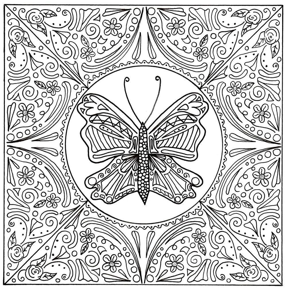 Butterfly Lace Mandala Adult Coloring Page Coloring Books Adult