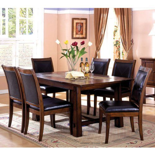 Living Stone Mission Style Marble Inserts Tobacco Oak 5-Piece Dining