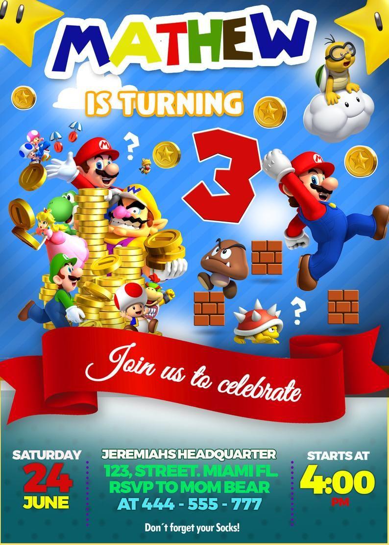Super Mario Invitation, Birthday Party Printable invite