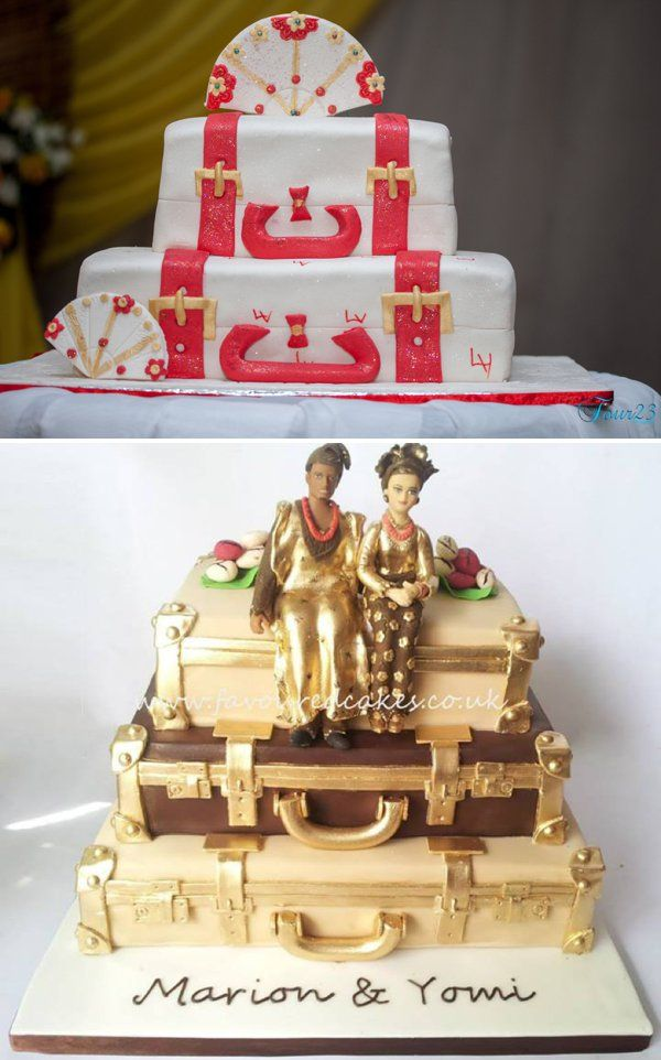 Stacked Luggage Cakes For Traditional Weddings In Nigeria Bottom Cake By Favoured Sewa