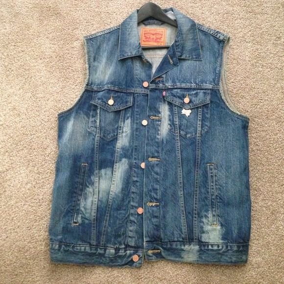 mens levi no sleeve jean jacket - Google Search | Fashion ...