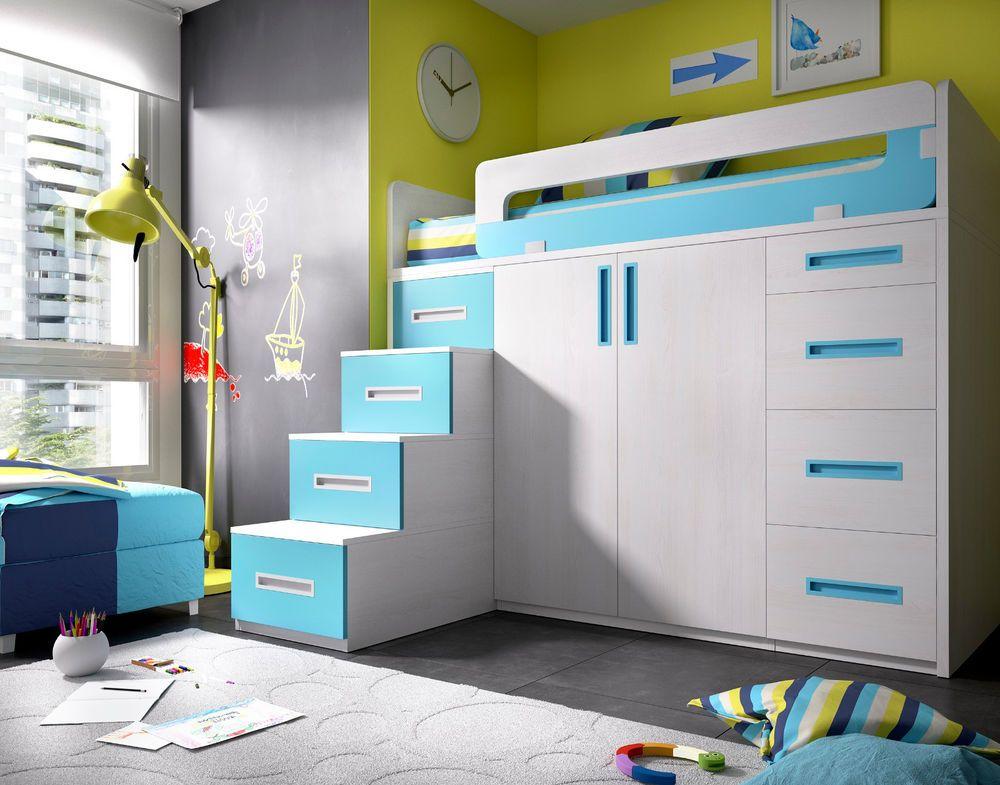 Etagenbett Mit Schrank : Modernes hochbett mit xxl stauram begehbarer kleiderschrank