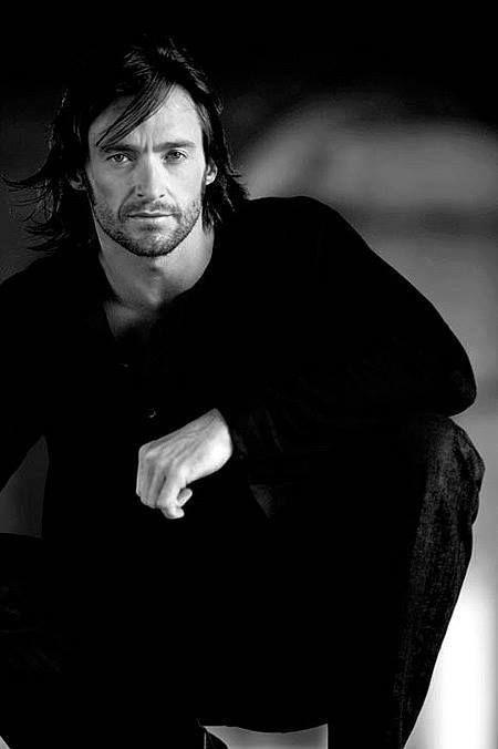 Hugh in Black and White photo shoot after Van Helsing
