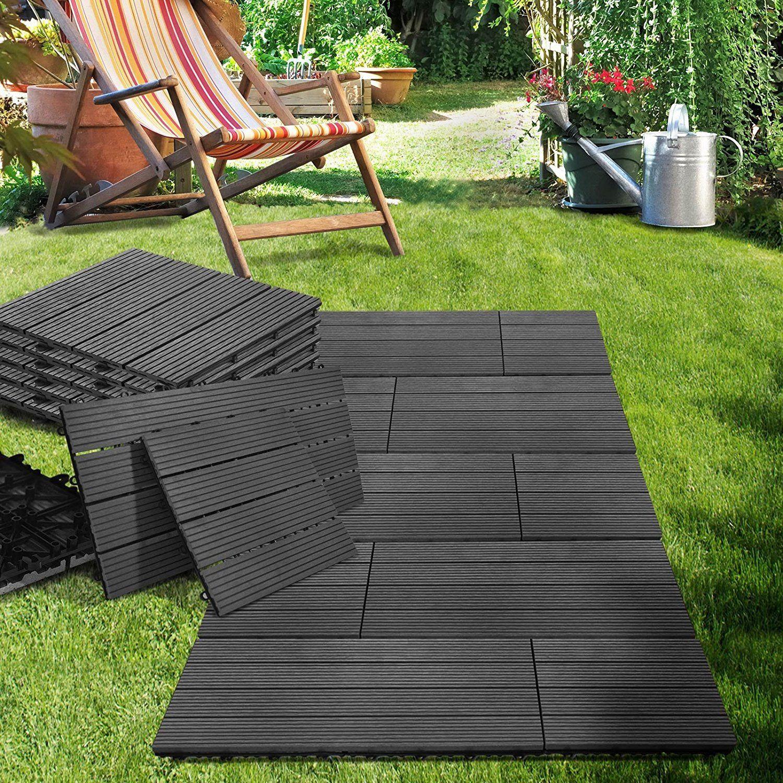 Casa Pura 11x Interlocking Wood Composite Deck Tiles Royal