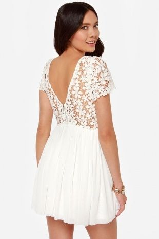 White Ivory Lace Dresses for Juniors